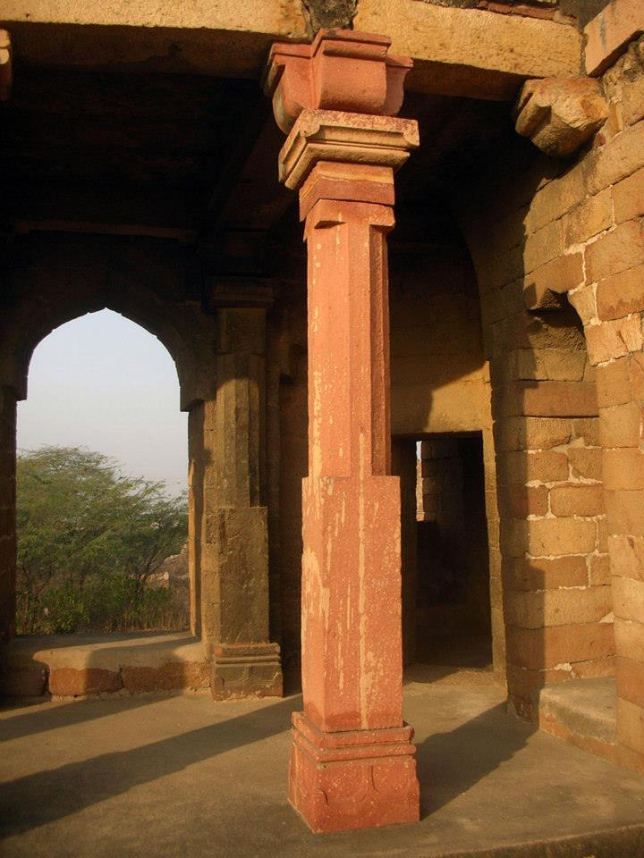 The columns of early Islamic structures in India were often reassembled from nearby demolished Hindu temples.