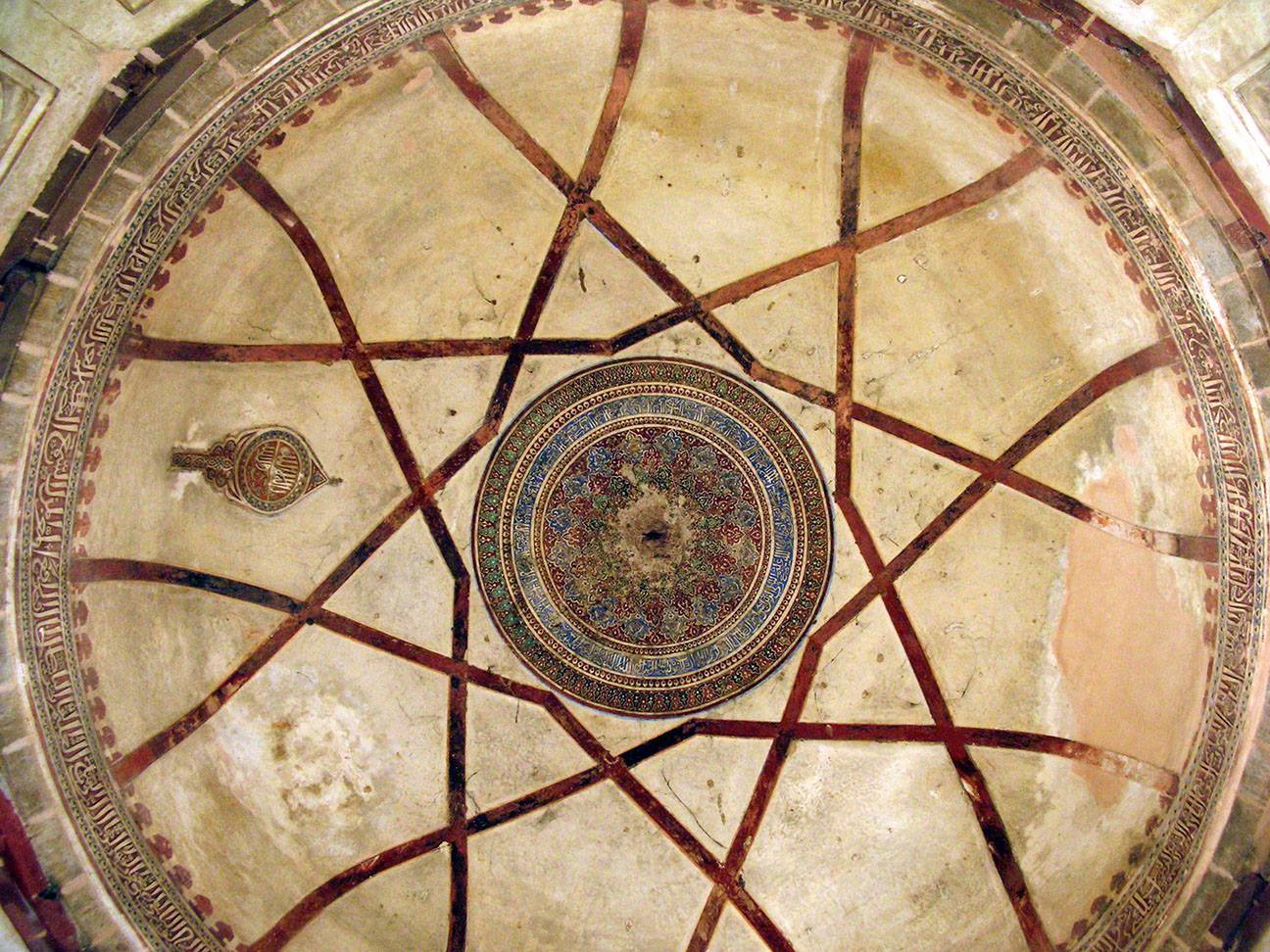 Look up towards the dome from inside the burial chamber.