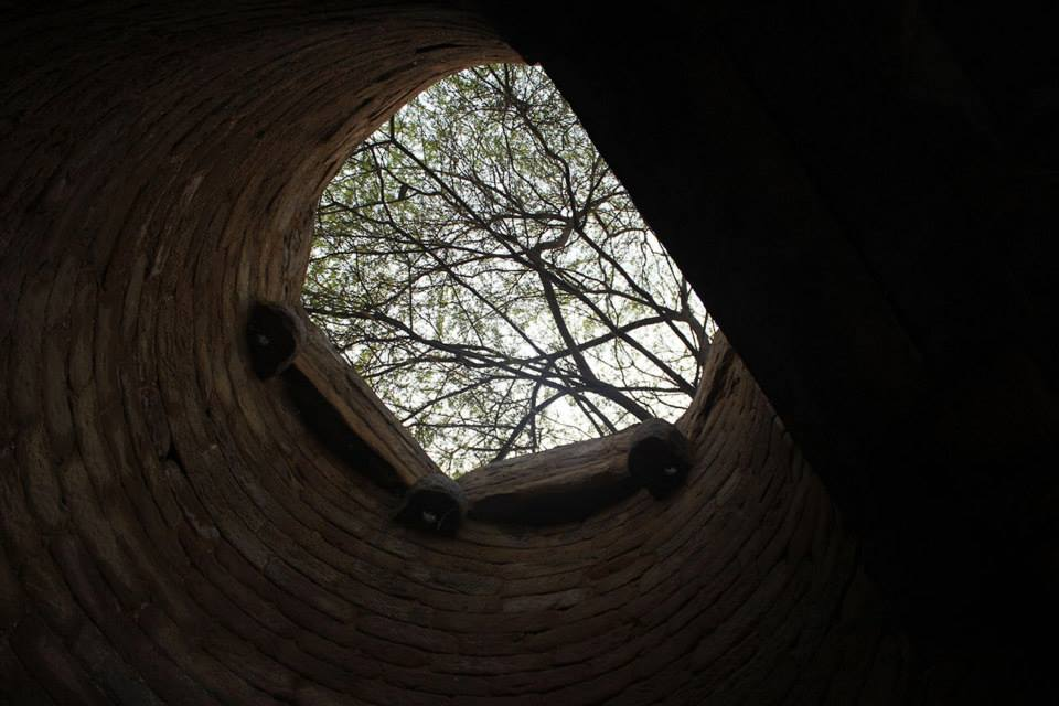 Looking upwards through the well.