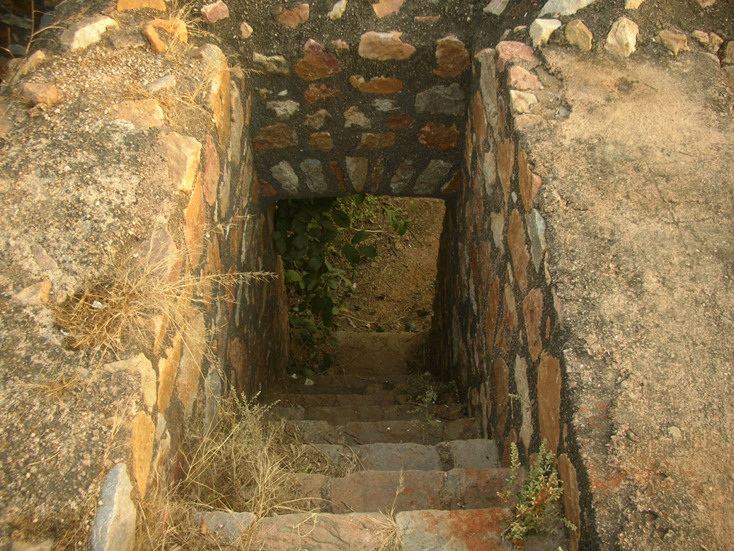 Staircase leading up to the upper levels.